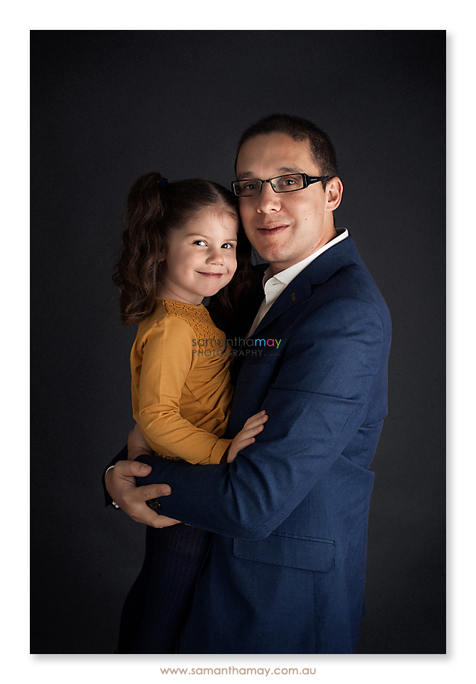 portrait of little girl and her daddy