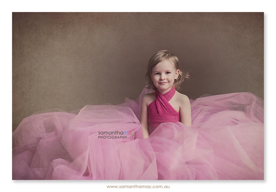 children's pink tutu portrait sitting