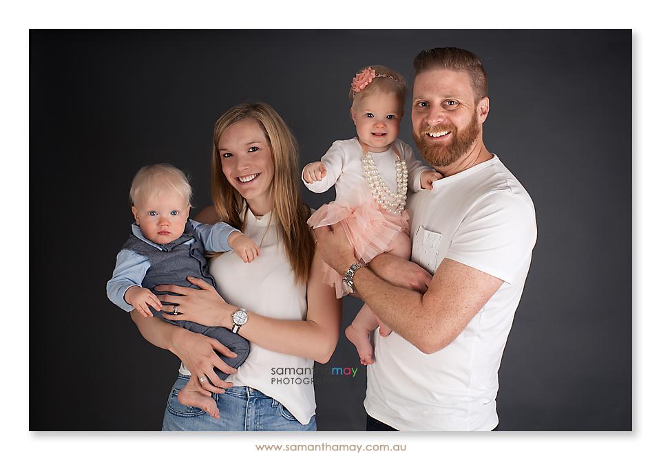 twin babies family portrait