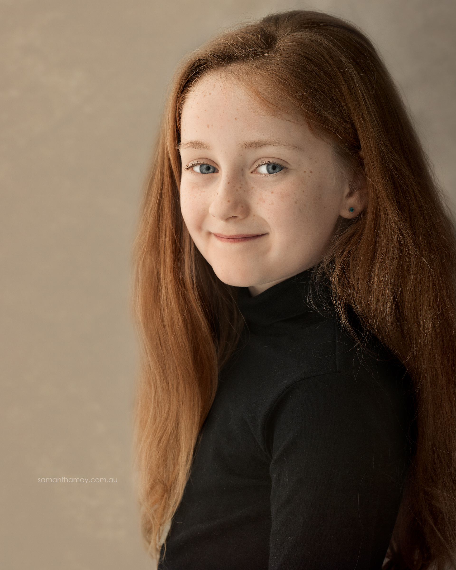 portrait of a girl, long red hair