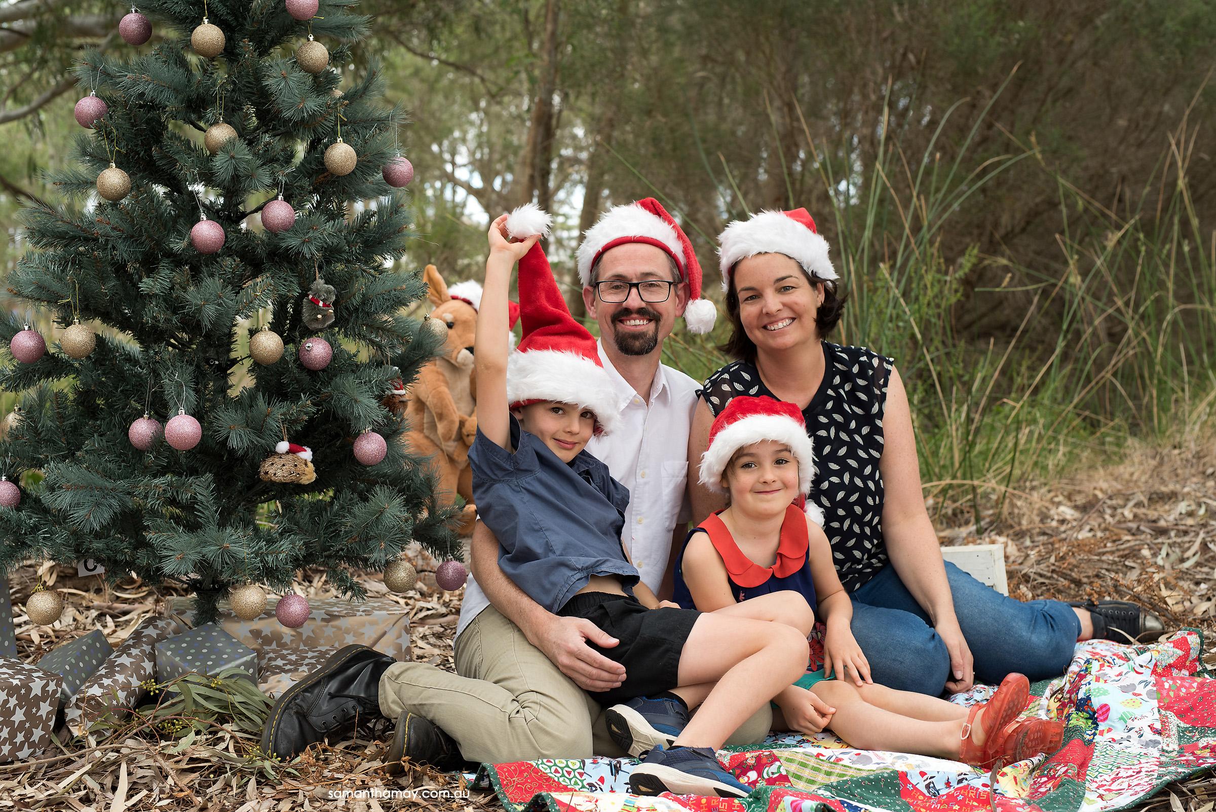 Christmas family in Australian bush