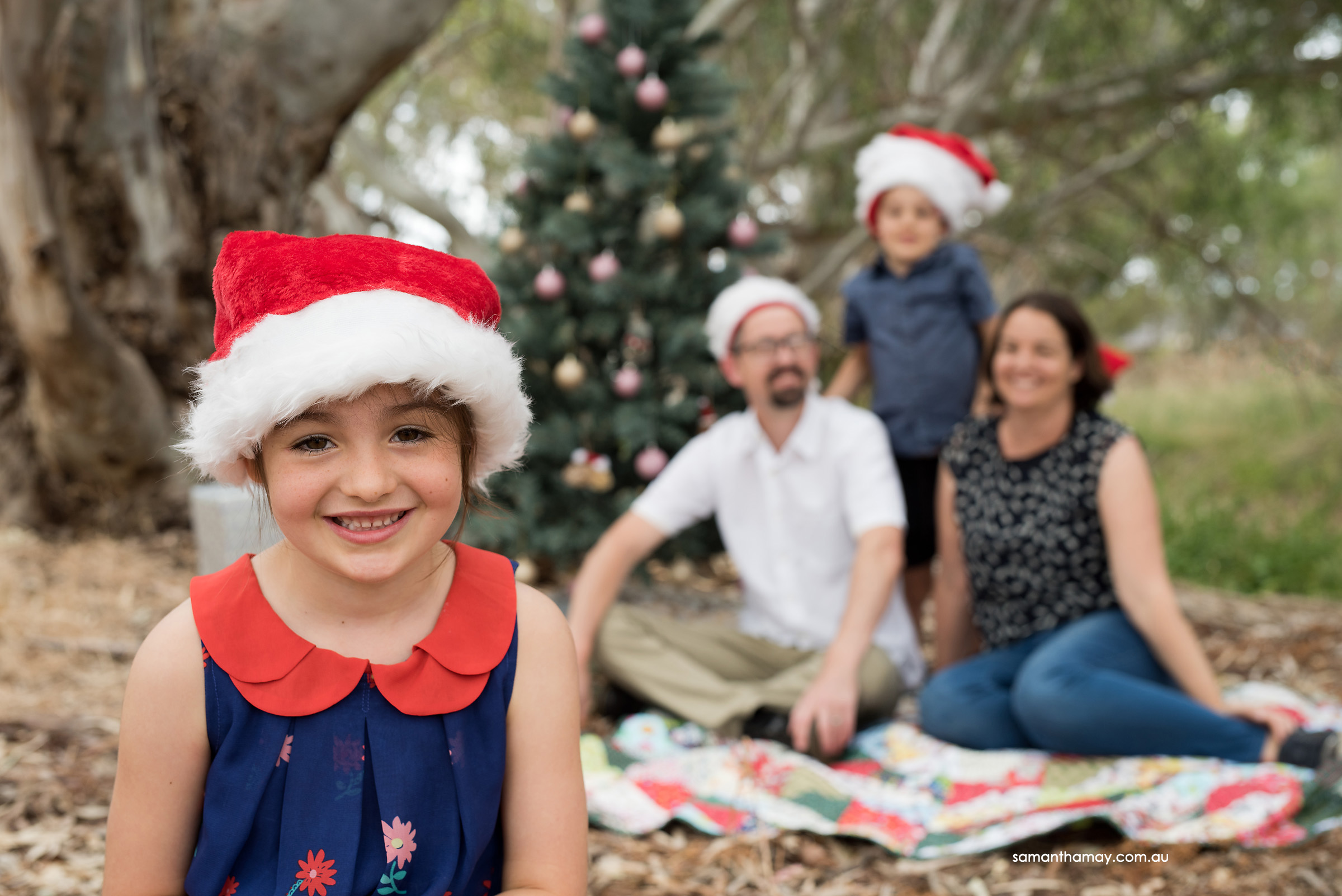 little girl at christmas in Aussie bush