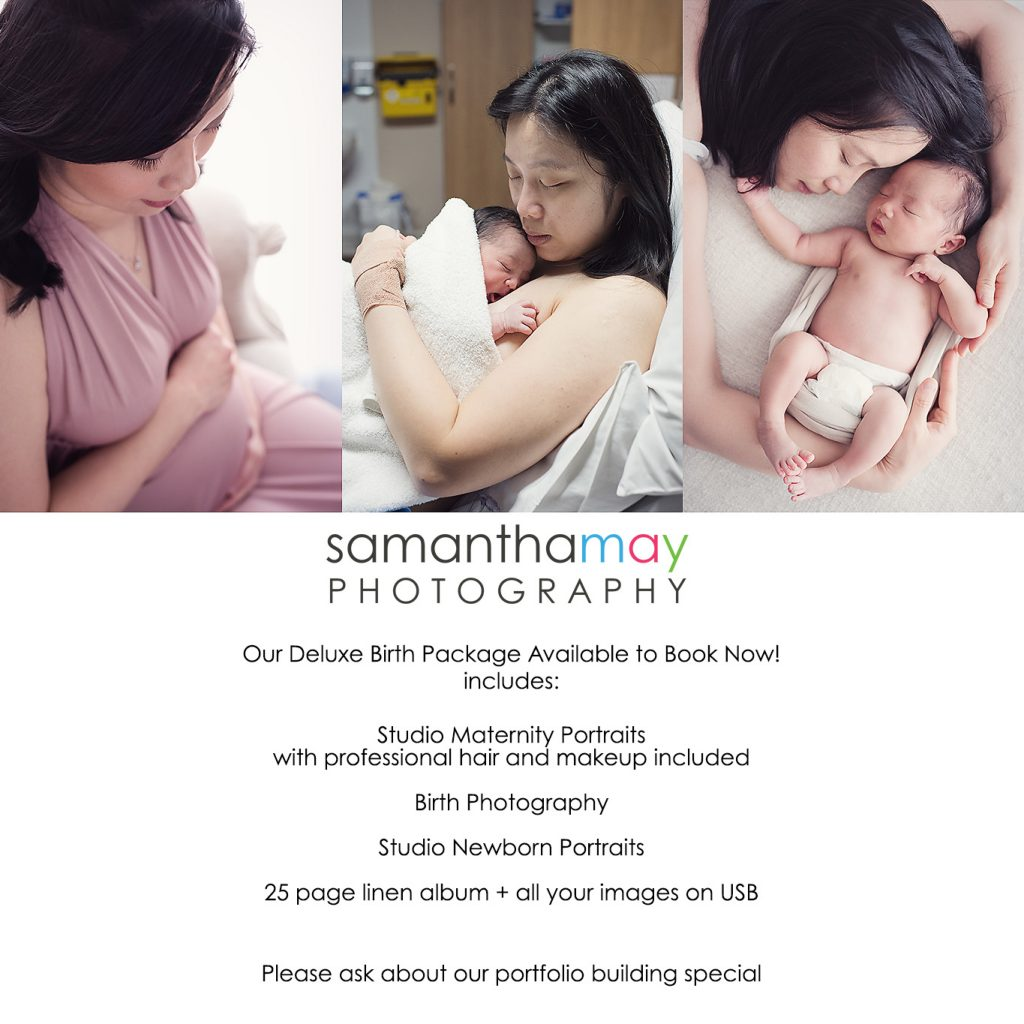 perth birth photographer description of birth package with example of studio newborn and maternity portraits and birthing mother image