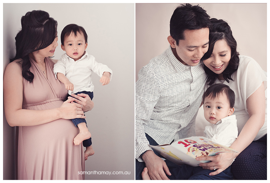 family portraits, pregnant mother with 2 year old son, and mother, son and father, studio portraits with natural lighting