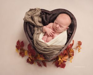 baby in wooden heart shaped bowl with autumn leaves