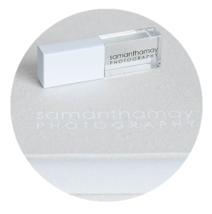 crystal usb and white end cap with samantha may photography logo